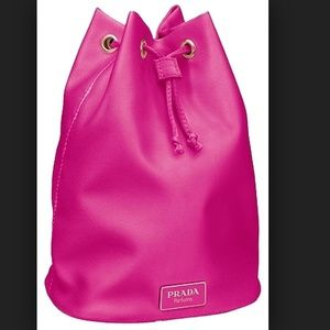 Prada CANDY Textile Pouch Hot Pink Makeup Bag NEW
